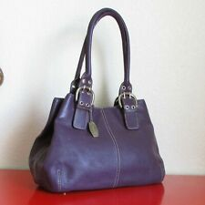 Tignanello Genuine Pebble Leather Purple Footed Medium Large Shoulder Bag Purse