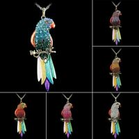 Vintage Crystal Rhinestone Enamel Bird Parrot Bronze Pendant Necklace Long Chain