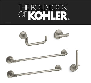 "KOHLER WORTH BATHROOM ACCESSORIES 24 in 18"" TOWEL BAR RING HOOK INDUSTRIAL STYLE"