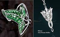 2 Set LOTR Lord Of The Rings's Elven Leaf Brooch Arwen Evenstar Pendant Necklace