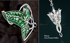 2 Set LOTR Lord Of The Rings's Elven Leaf Brooch Arwen Evenstar Pendant Necklace
