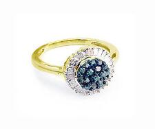 Blue Diamond Ring 10K Yellow Gold Blue & White Diamond Vintage Style Ring .50ct