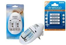 AA/AAA/PP3 9v BATTERY CHARGER+ 4 x AAA ENELOOP RECHARGEABLE BATTERIES