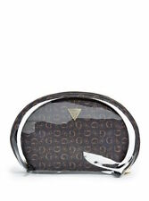 NWT Guess Blue & Beige Textured G Logo Pattern & Clear Vinyl Cosmetic Bag Set