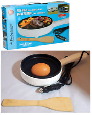 12V Non-Stick Electric Frying Pan with Wooden Spoon CAR VAN CAMPER CARAVAN 100WA
