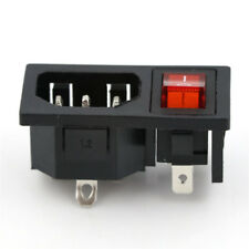 Power Socket Connector On/Off SPST Red Rocker Switch AC 250V 10ASC
