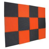 """12 Char & Orange Wedge Studio Foam Soundproofing Foam Wall Panels Tiles 1""""X12X12"""