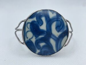 VTG Antique Sterling Silver Blue White Chinese Porcelain Cuff Bracelet 17.2g #pv