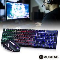 Backlit Computer Desktop Wired Gaming Keyboard + Mouse Mechanical Led Light USA