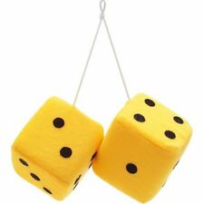 """3"""" Yellow Fuzzy Dice with Black Dots - Pair VPADICEYLB vintage parts usa muscle"""