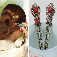 Women Metal Rhinestone Handmade Hair Stick Hair Chopsticks Hairpin Pin Chignon S