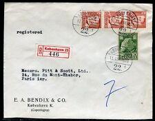 Danemark - Enveloppe en recommandé de Copenhague pour Paris en 1954 - ref D229