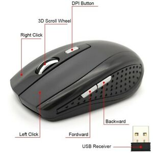 2.4Ghz Wireless Gaming Mouse 2000 DPI 6 Keys Optical Mause With USB Receiver