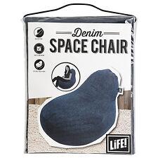LIFE! BLUE DENIM SPACE CHAIR BEAN BAG 91CM X 91CM X 66CM NEW