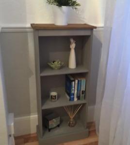 Small Rustic Bookcase Narrow Storage Furniture Side Cabinet Unit Wood Grey Shelf