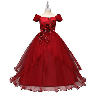Girls Flower Lace Long A Line Pageant Dress Floor Length Princess Prom Tulle Max