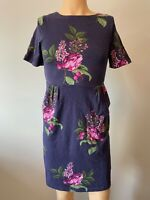 Joules Ladies Womens Dress UK Size 10 Blue Pink Green Floral Pockets Summer