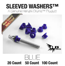 100 BLUE Nylon SLEEVED WASHERS Hendrix Drums NEW COLOR! hoop tension rod colored