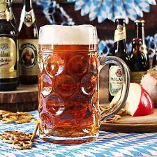 German Beer Stein Glass 1L Dimpled Beer Mug German Beer Tankard Masskrug