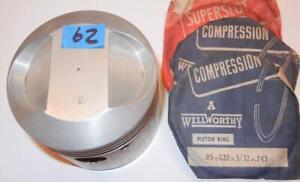 "1950's BSA B34 500 piston & rings 85mm +.020"" made by USA Robbins #B178 - 62"