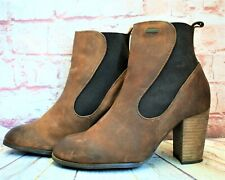 Womens Superdry Tan Leather Pull On High Heel Ankle Boots Size UK 7 EUR 40