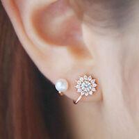 Gold Women Fashion Jewelry Lady Elegant Pearl Rhinestone Ear Stud Earrings 1Pair