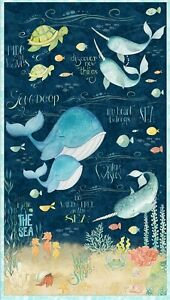 Water Wishes Be Wild & Free At the Sea Whale Turtle Large Panel Cotton Fabric