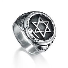 Magen Star of David Ring for Men Hanukkah Solomon Solid Pewter ring