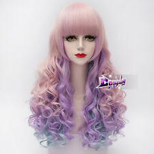 65CM Pink Mixed Blue Purple Long Curly Hair Lolita Women Ombre Cosplay Wig + Cap