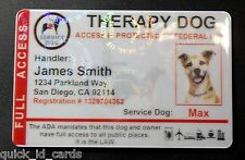 HOLOGRAPHIC THERAPY SUPPORT DOG ID CARD FOR SERVICE DOG ADA RATED 8THR R