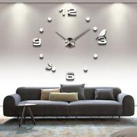 Acrylic 3D DIY Frameless Wall Clock Modern Mirror Sticker Big Watch Home Decor
