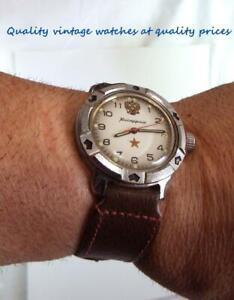 "Vintage 80's windup military watch ""Vostok"" Komandirskie- Soviet union"