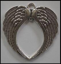 METAL CHARM #830 ANGEL WINGS (74mm x 69mm) silver tone 2 bails