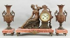 19thC Antique Victorian Marble & Bronzed Spelter Lady Mantle Clock & Vases, Nr