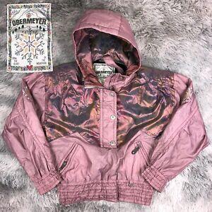 Vintage 1980's OBERMEYER Snowflake Iridescent Rose Gold Ladies Ski Jacket 8 M