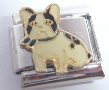 FRENCH BULLDOG Italian Charm Black White DOG Staffie 9mm fits Classic Bracelets