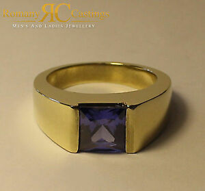 Unisex 2.50ct CZ Sapphire Comfort Fit Ring Jewellers Bronze Dipped in 9ct Gold