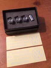 VW LOGO DUST CAPS FOR VW PLUS 2 X GPS STICKERS CAR SECURITY.