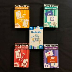 Learning Flash Cards Subtraction Multiplication Division Time Money *Lot of 5*