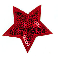 STELLA rossa con paillettes ricamato Patch Sew Su Panno Badge Applique Patch P42