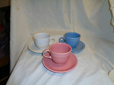 Lot of 3 Fiestaware Cups Mugs With Saucers Pink Blue White