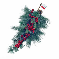 "Ashland 26"" Frosted Winter Pine & Red Berries Christmas Swag"