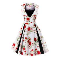 WOMENS 40's 50's RETRO VINTAGE SWING PARTY ROCKABILLY TEA DRESS MANY PRINTS NEW