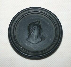 Antique Leed's Pottery Black Basalt Helena Medallion