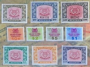 Singapore 1969-85 Revenue Stamps Complete set 10¢ to $50,000 MNH in IRAS Folder