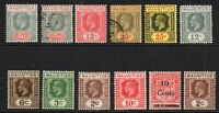 Mauritius 12 Stamps c1921-33 Mounted Mint Hinged and Used (7361)
