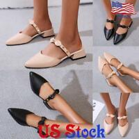 Women's Block Heel Slip On Causal Shoes Rivet Casual Pointed Toe Mules Slipper