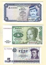 1975 1980 Germany 5 Mark Banknote + Brunei Asia 1 Dollar 3 Note Lot UNCIRCULATED