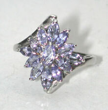 signed Stauer light Purple Sunburst Tanzanite Cluster Sterling Silver Ring sz 9
