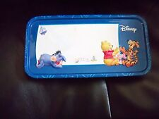 DISNEY Winnie The Pooh & Friends BLUE Pencil Tin Metal Case SCHOOL EUC